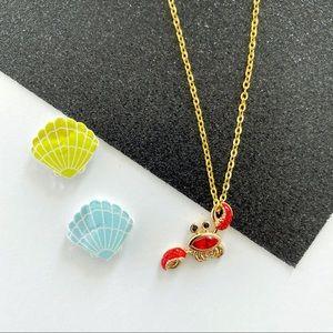 Crystal Encrusted Dainty Crab Necklace